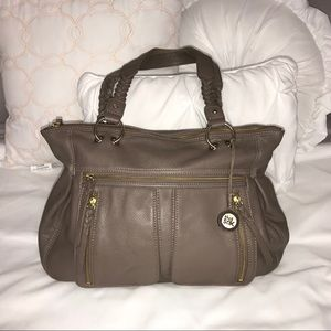 The Sak Leather Handbag - taupe w/ gold accents